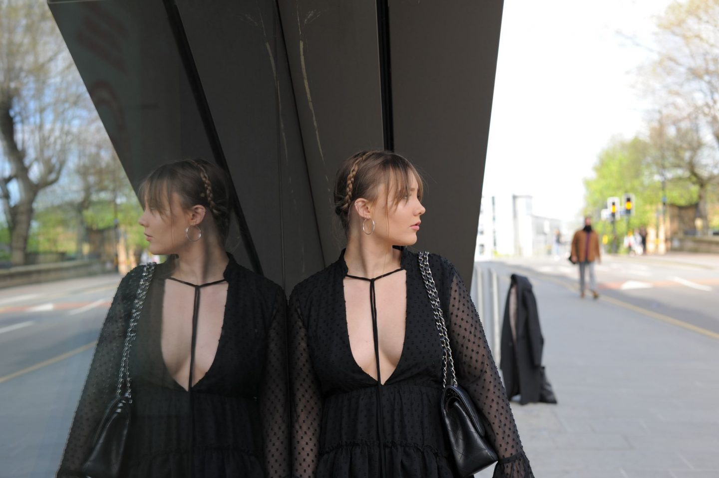 blogger wears boohoo melanie ruffle tiered spot skater dress reflection