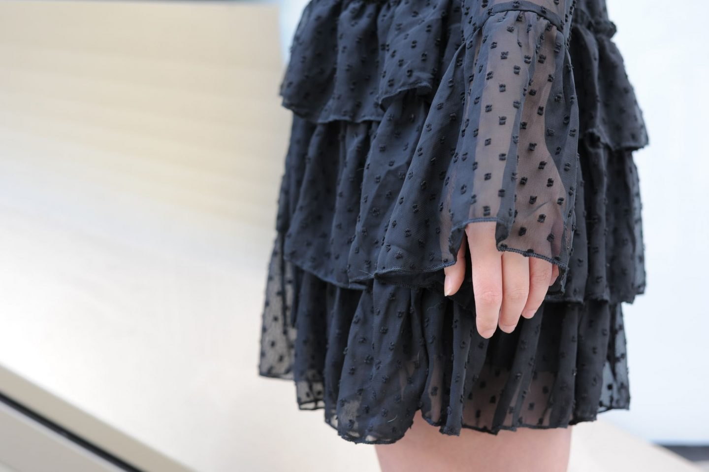 close up details of melanie ruffle tiered spot skater dress