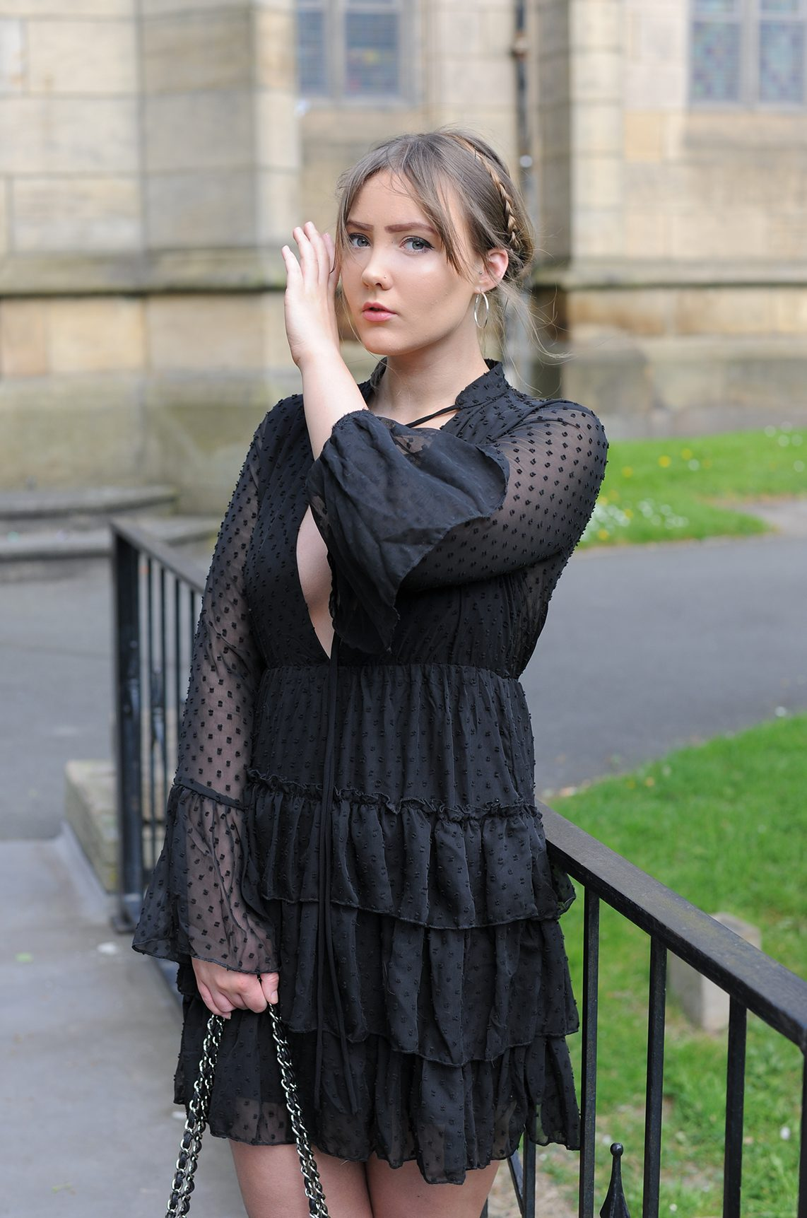 blogger wears boohoo melanie ruffle tiered spot skater dress